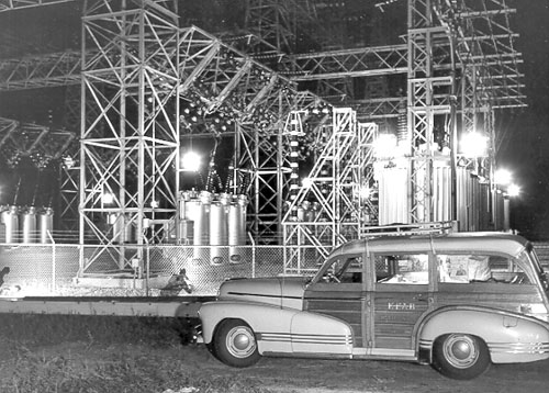 The construction of Nebraska's public power facilities was big news throughout the state during the 1940s. KFAB Radio of Omaha made a series of live broadcasts during a tour of Central's project in October 1946, including one from the switchyard of the Jeffrey Hydroplant shown in this picture. Source — Central Nebraska Public Power and Irrigation District.